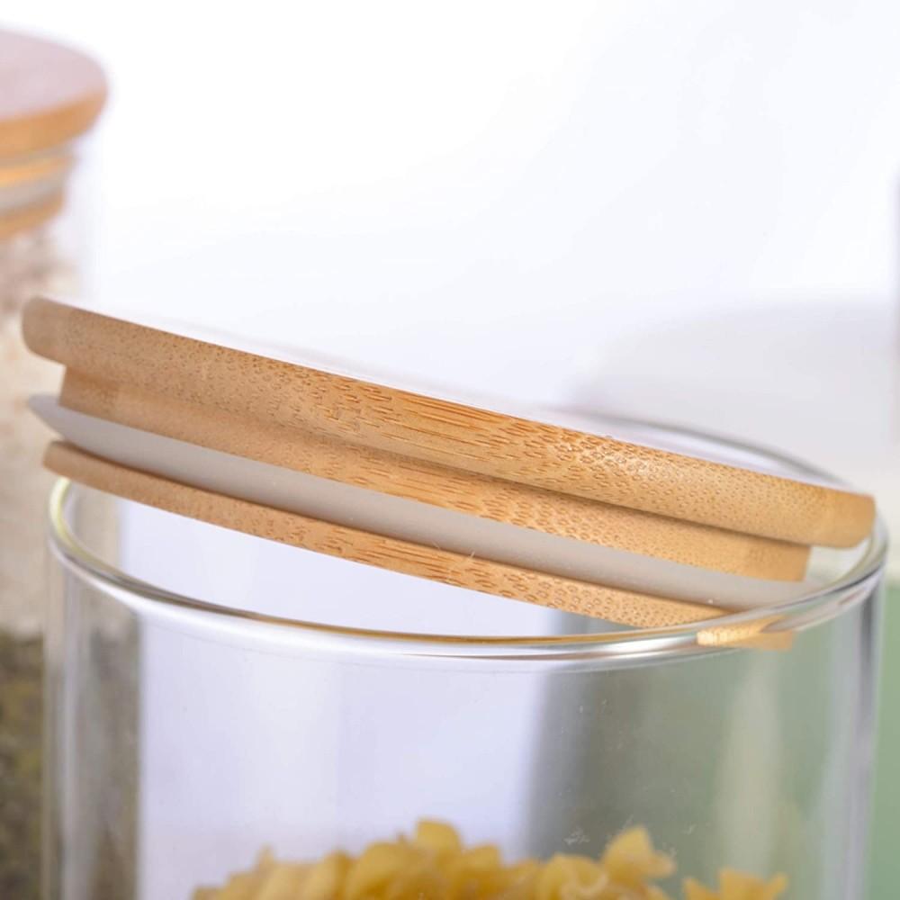 Kit 2 Pote De Vidro Para Mantimentos Com Tampa Bambu 1100ML