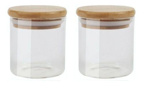 Kit 2 Pote De Vidro Para Mantimentos Com Tampa Bambu 200ML