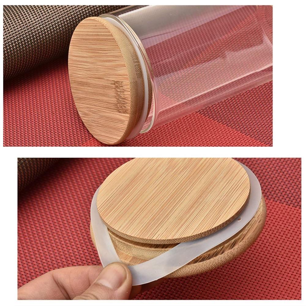 Kit 2 Pote De Vidro Para Mantimentos Com Tampa Bambu 500ML