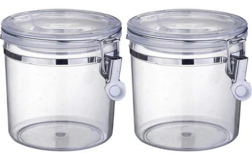Kit 2 Pote Hermético Plástico Com Tampa Cozinha Luxo 600Ml