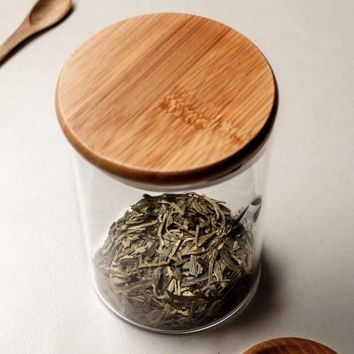 Kit 2 Potes De Vidro Hermético Com Tampa Bambu 550ml