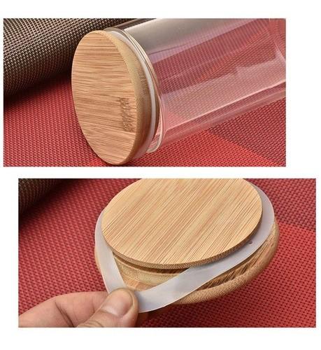 Kit 2 Potes De Vidro Tampa De Bambu Mantimentos 380ml