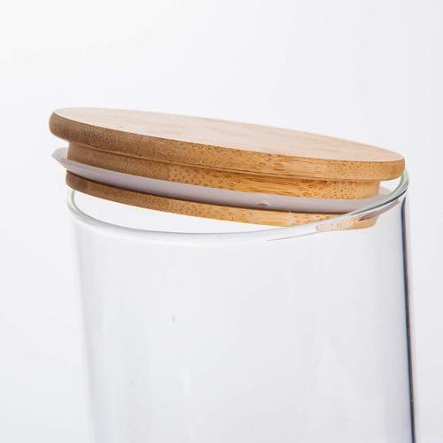 Kit 2 Potes De Vidro Tampa De Bambu Para Mantimentos 1000ML