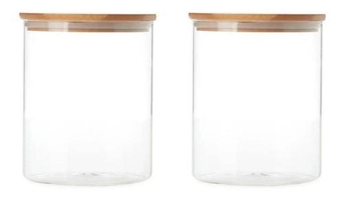 Kit 2 Potes De Vidro Tampa De Bambu Para Mantimentos 480ML