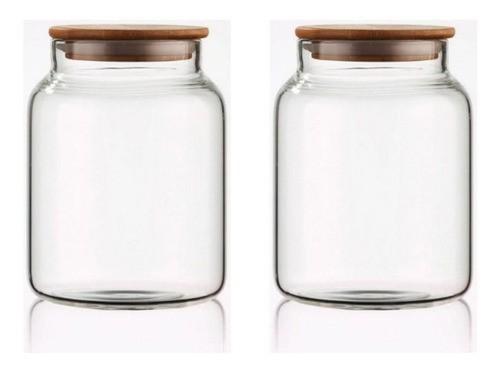 Kit 2 Potes Porta Condimentos De Vidro Tampa De Bambu 550ML