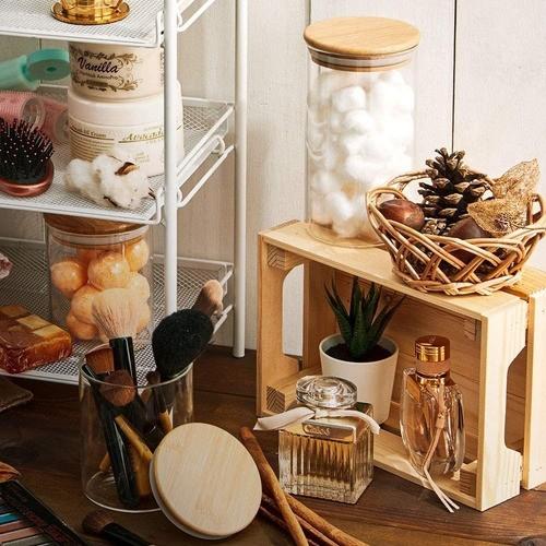 Kit 2 Potes Porta Mantimentos De Vidro Tampa De Bambu 200ML