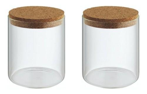 Kit 2 Potes Porta Temperos Condimentos Tampa De Rolha 200ml