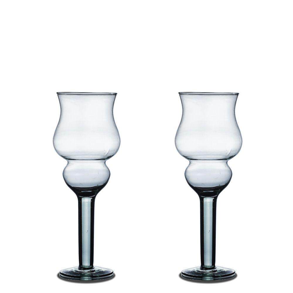 Kit 2 Vasos Taça Castiçal Napoli 25cm De Vidro Decoração