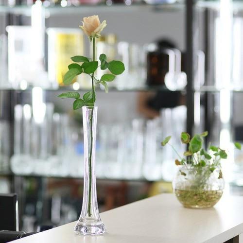 Kit 2 Vasos De Vidro Solitário Flores Arranjo 30cm E 25cm