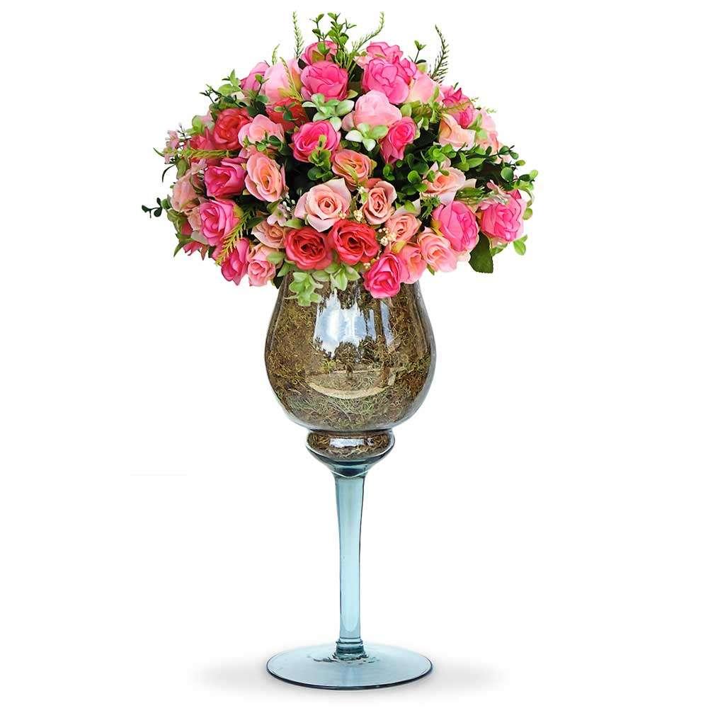 Kit 2 Vasos Taça 35cm Em Vidro Napoli Decoração Casamento