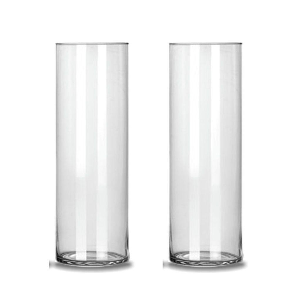 Kit 2 Vasos Tubo Cilindro De Vidro 17x50cm Decoração Casamento