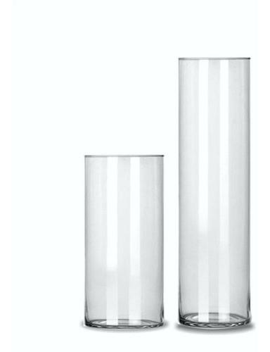 Kit 2 Vasos Tubo Copo Cilindro De Vidro 17x30cm e 14x50cm