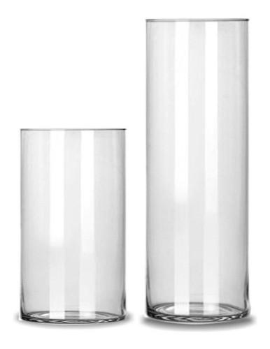 Kit 2 Vasos Tubo Copo Cilindro De Vidro 17x30cm e 17x40cm