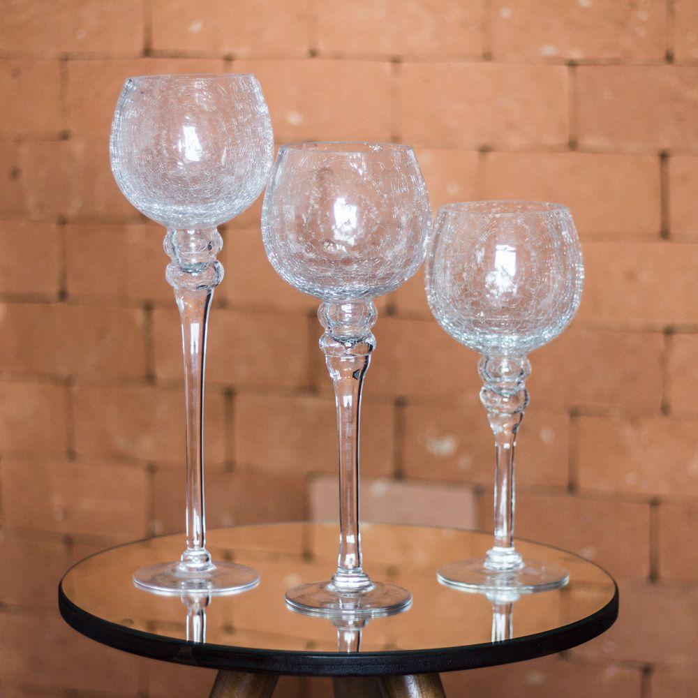 Kit 3 Castiçais com pé crackle transparente em vidro