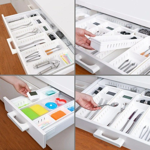 Kit 3 Organizadores De Gavetas Cozinha Utensílios Modulável