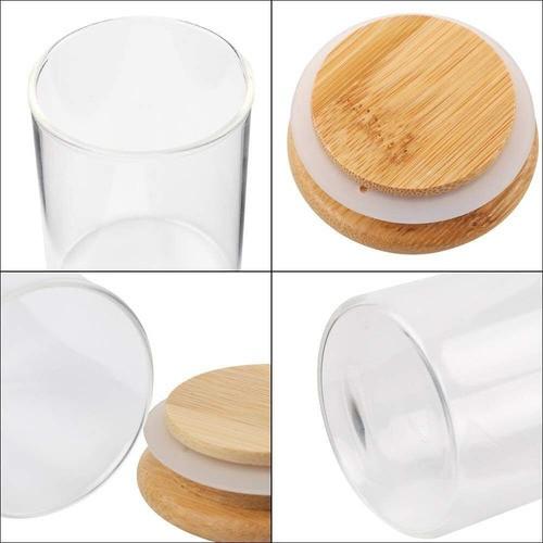 Kit 3 Pote De Vidro Para Mantimentos Com Tampa Bambu 200ML