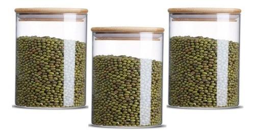 Kit 3 Potes De Vidro Hermético Com Tampa Bambu 550ml