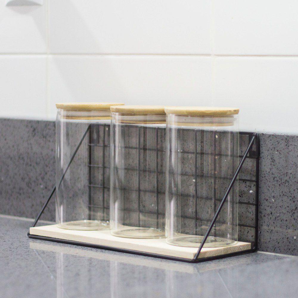 Kit 3 Potes De Vidro Herméticos 700ML Com Prateleira Cozinha