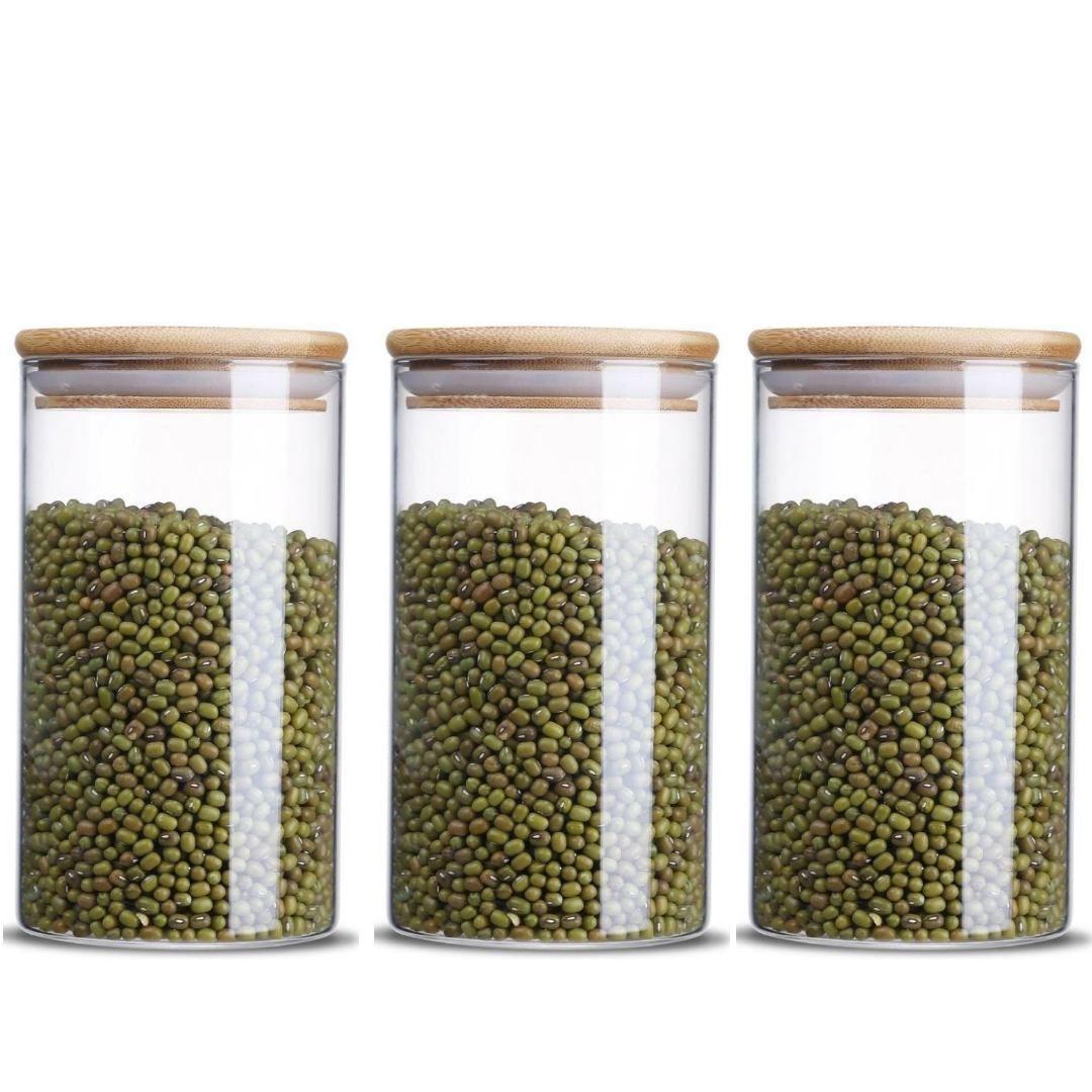 Kit 3 Potes De Vidro Tampa De Bambu Para Mantimentos 1000ML