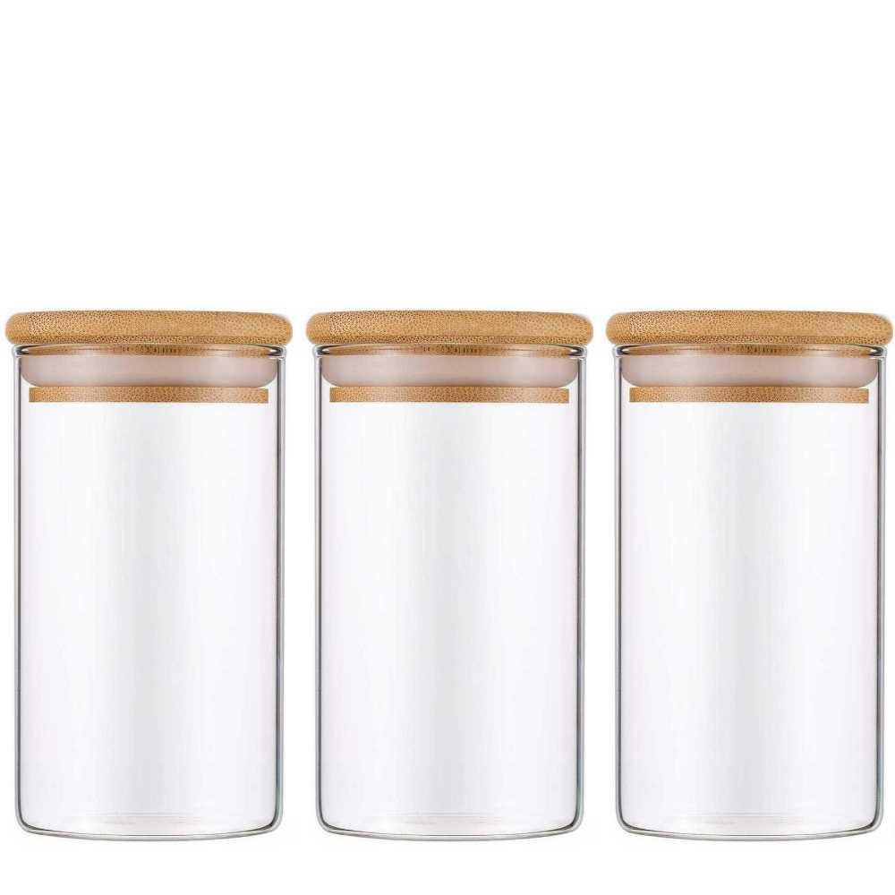 Kit 3 Potes De Vidro Para Mantimentos Com Tampa Bambu 300ML
