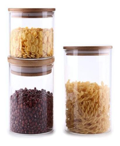 Kit 3 Potes De Vidro Tampa De Bambu 1000ml, 700ml, 480ml
