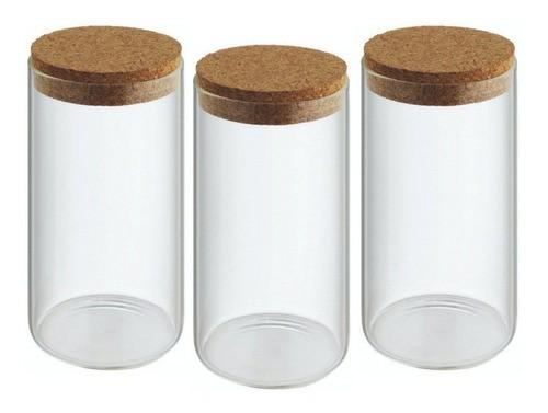 Kit 3 Potes Porta Temperos Condimentos Tampa De Rolha 320ml