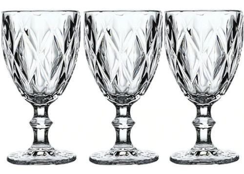 Kit 3 Taças De Vidro Luxo Para Vinho Champanhe