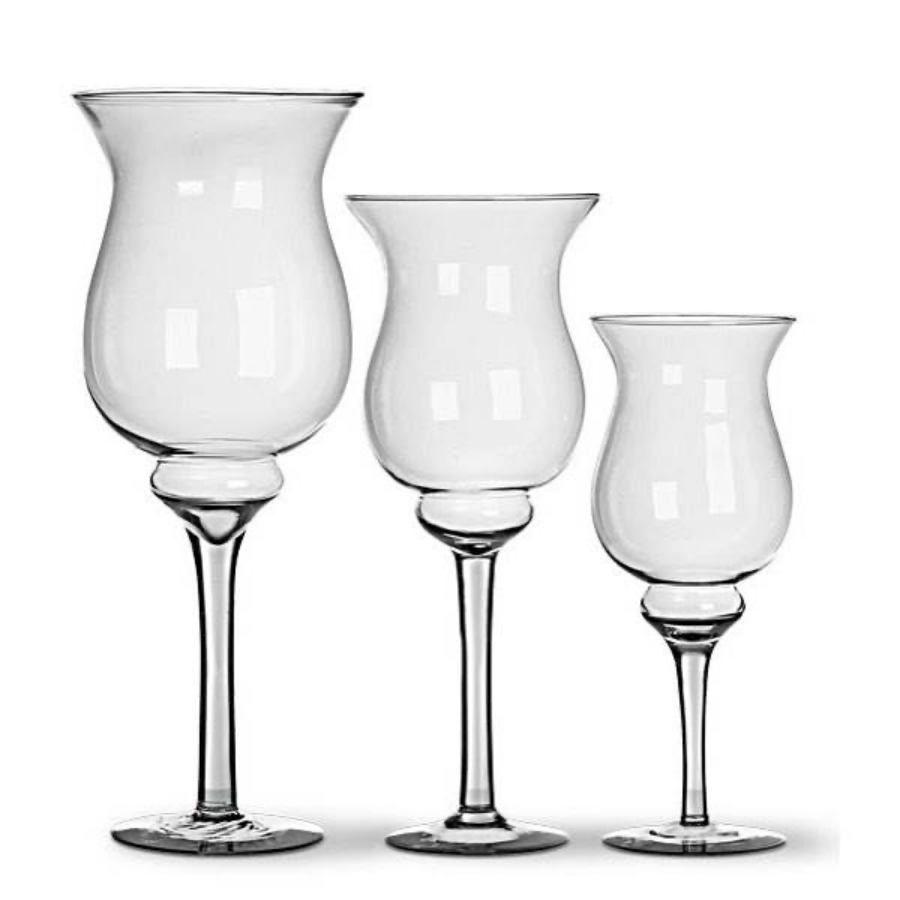 Kit 3 Taças Vasos Napoli De Vidro 35cm, 43cm e 50cm