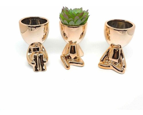 Kit 3 Vasos Decorativo Robert Bob Para Suculentas Rose Gold