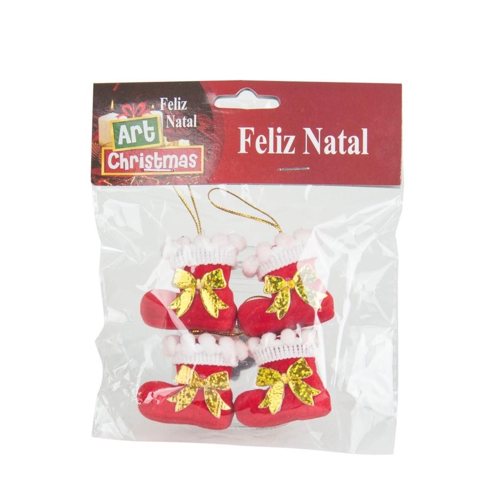 Kit 4 Botas Decorativa Enfeite Decoração De Natal Árvore