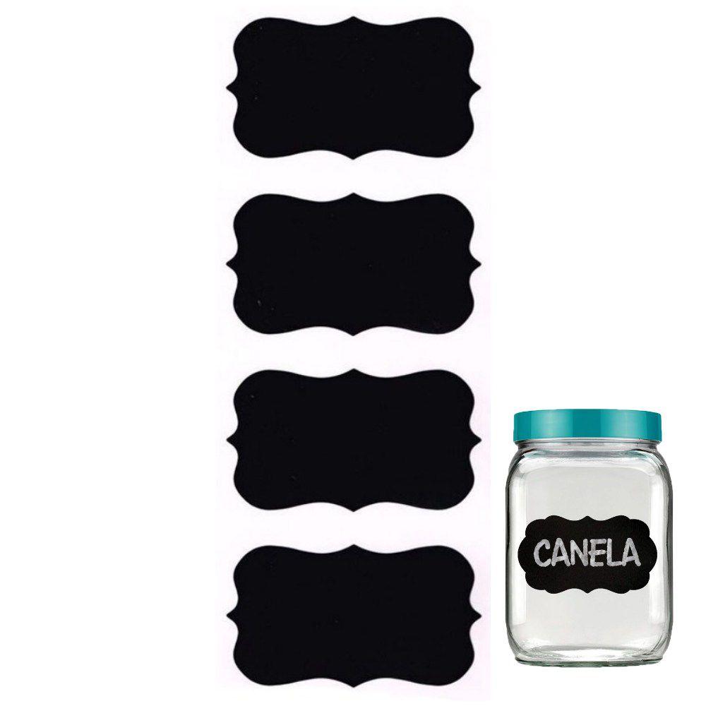 Kit 4 Etiquetas Adesiva Quadro Negro Para Potes De Tempero