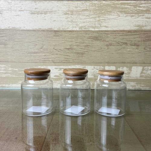 Kit 4 Frascos Pote De Vidro Com Tampa De Bambu 160ml