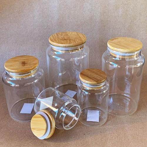 Kit 4 Frascos Pote De Vidro Com Tampa De Bambu Cozinha