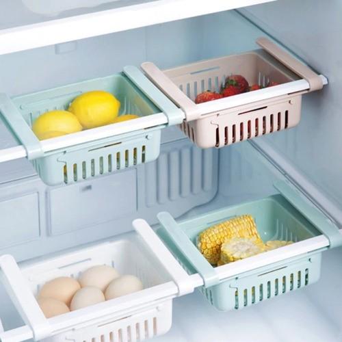 Kit 4 Organizador Ajustável Cozinha Geladeira Multiuso Rosa