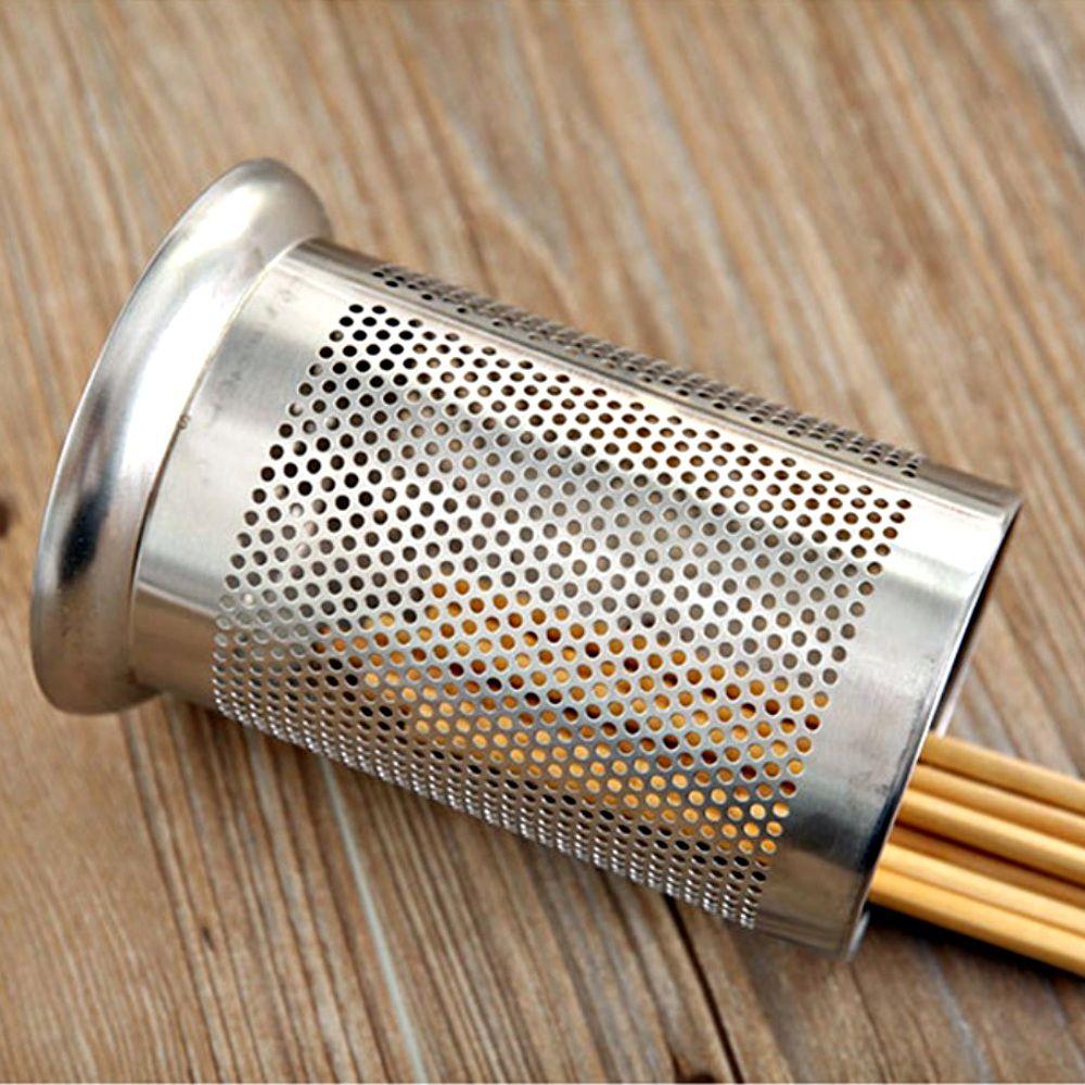 Kit 4 Porta Talheres Escorredor Inox Redondo Vazado Cozinha