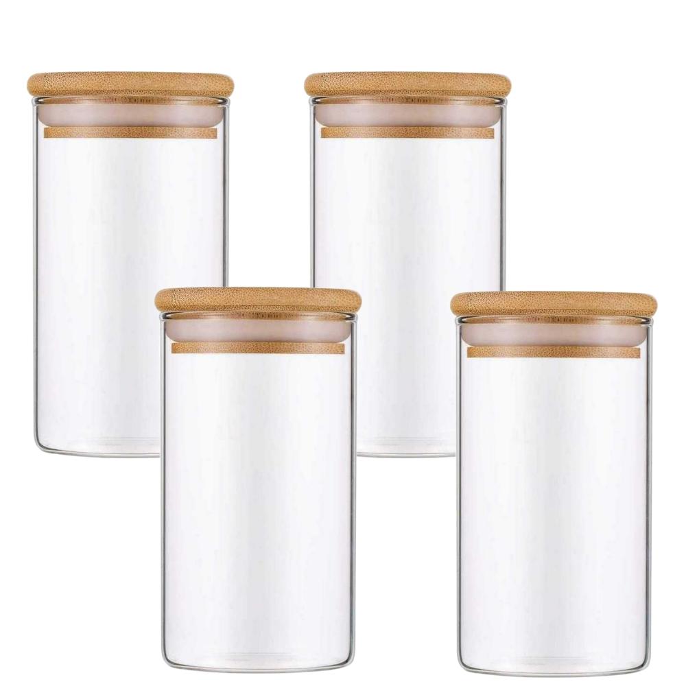 Kit 4 Pote De Vidro Para Mantimentos Com Tampa Bambu 300ML