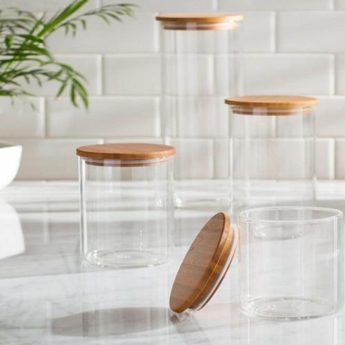 Kit 4 Potes De Vidro Com Tampa De Bambu Para Mantimentos