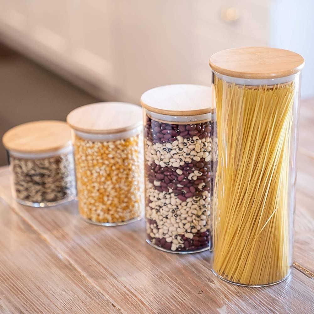 Kit 4 Potes De Vidro Para Mantimentos Com Tampa De Bambu