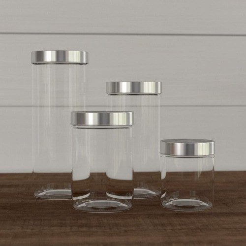 Kit 4 Potes De Vidro Tampa Alumínio Aço Escovado Mantimentos