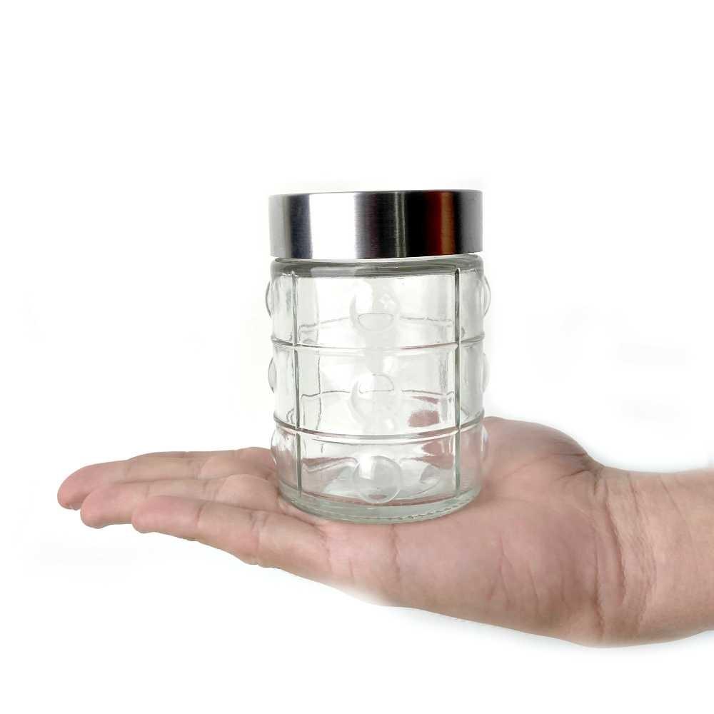 Kit 4 Potes Frasco De Vidro Com Tampa Para Mantimentos 300ml