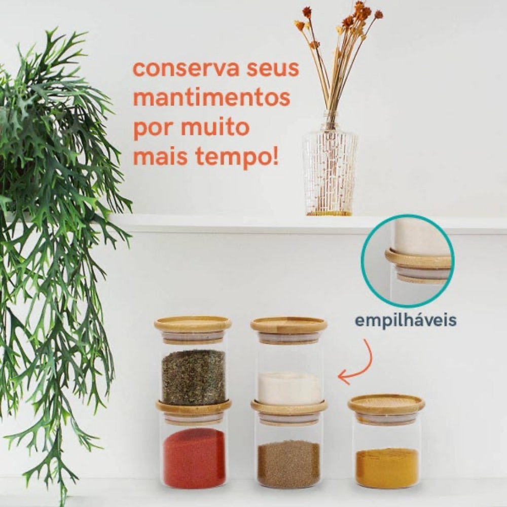 Kit 4 Potes Porta Mantimentos De Vidro Tampa De Bambu 200ML