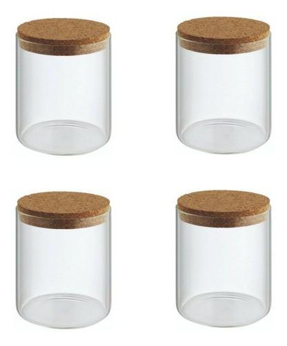 Kit 4 Potes Porta Temperos Condimentos Tampa De Rolha 200ml