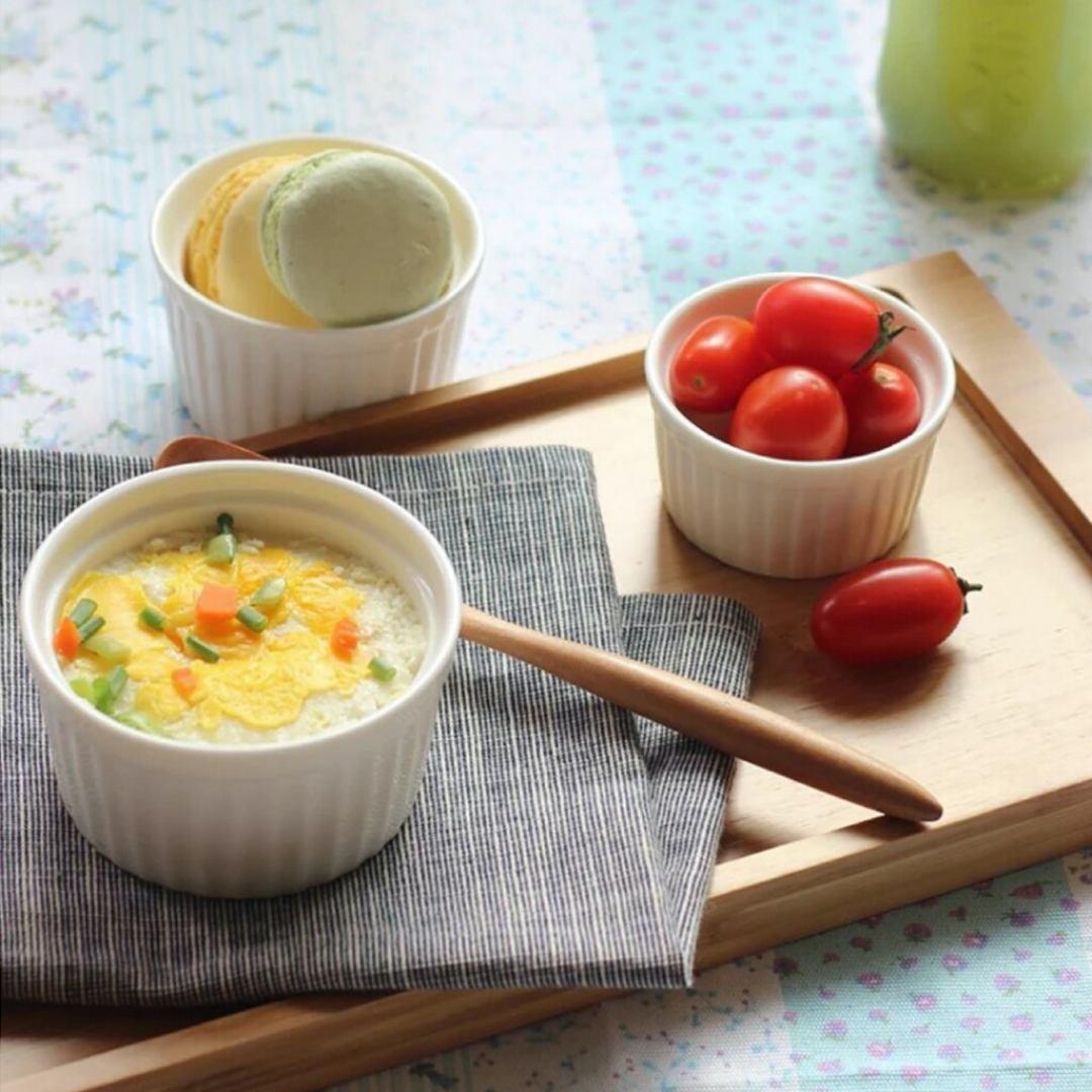 Kit 4 Ramekins Ramequim Gourmet 190ml Cerâmica Canelado