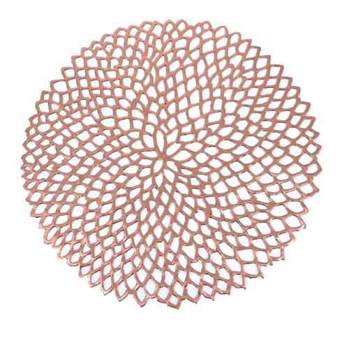 Kit 4 Sousplat Luxo Rose Gold Para Decoração Mesa Prato