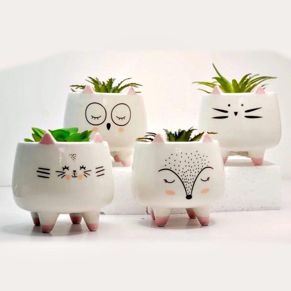 Kit 4 Vasinhos Cachepot Decorativos De Bichinhos Porcelana