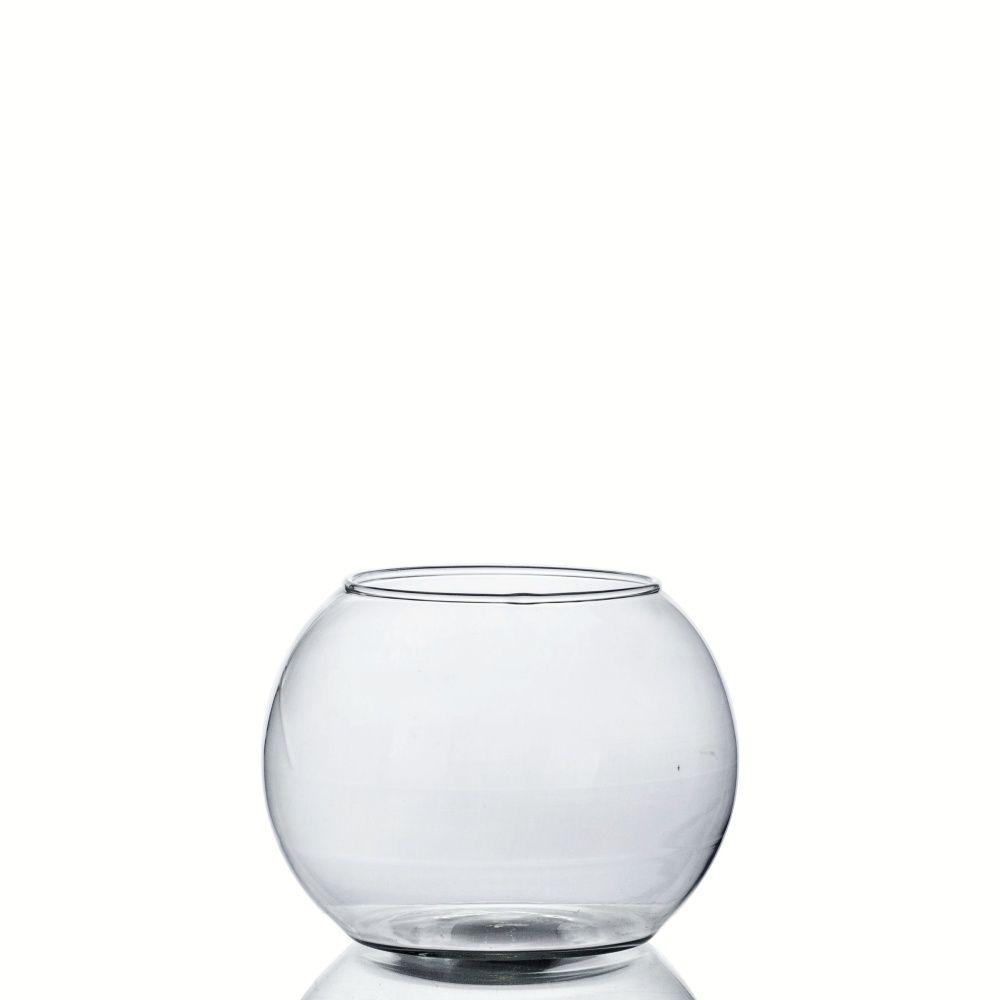 Kit 4 Vasos De Vidro Aquário Redondo 900ml Decoração Peixes