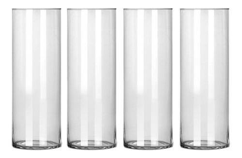 Kit 4 Vasos Tubo Copo Cilindro De Vidro 17x50cm Decoração