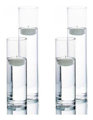 Kit 4 Vasos Tubo Copo De Vidro 2 De 30X6cm 2 De 25x6cm
