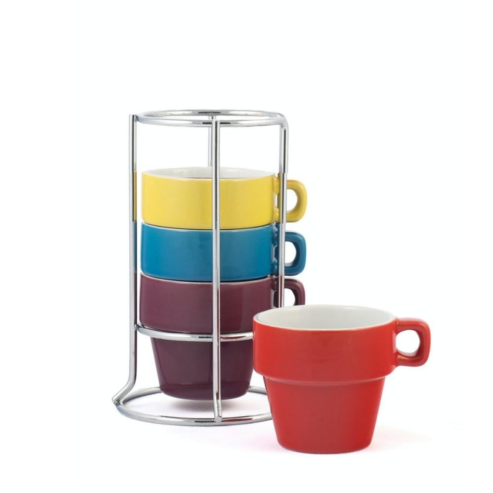 Kit 4 Xícaras De Porcelana Com Suporte Para Café 50Ml