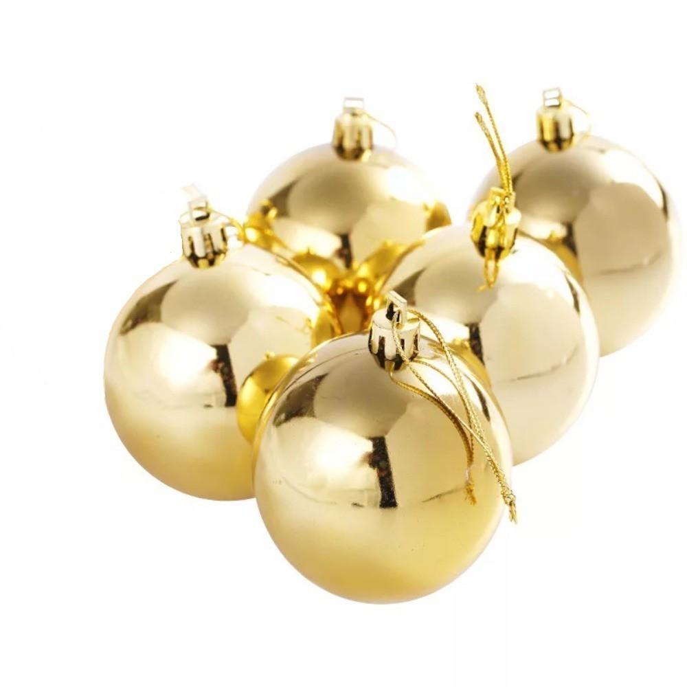 Kit 5 Bolas Pequena Decoração Natal Dourada Enfeite Árvore